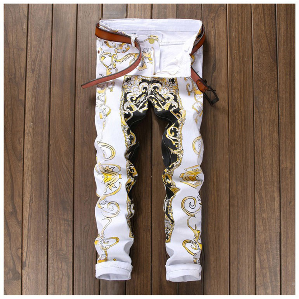 Printed Skinny Biker Jeans Men Stretch Hip Hop Slim Mens Denim Jeans Casual Street Fashion Jogger Pants Male Trousers White colorful jeans male slim print elastic skinny pants trousers trend pattern male jeans