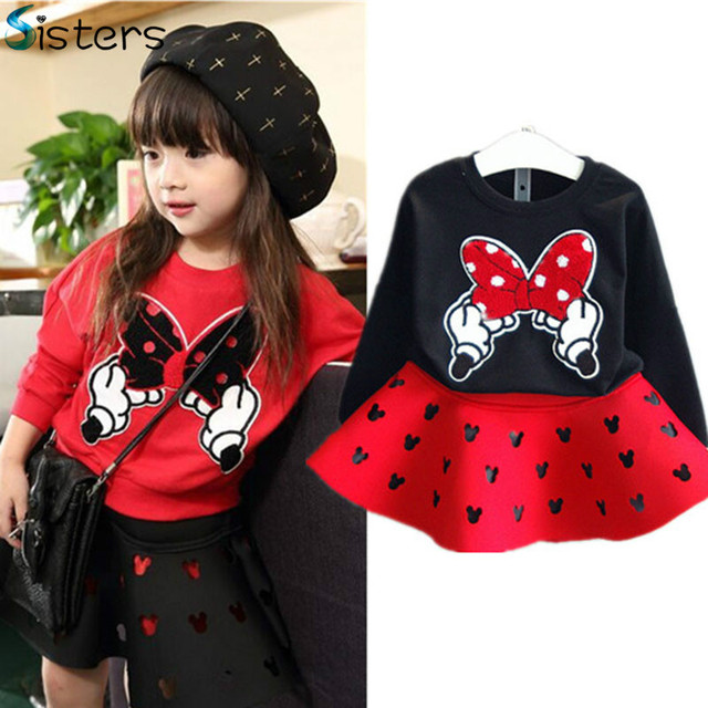 2017 New Spring Fashion Baby Girls Clothing Set Minnie T shirt + Skirt 2pcs/set dot bow point suit long-sleeved girl's dress