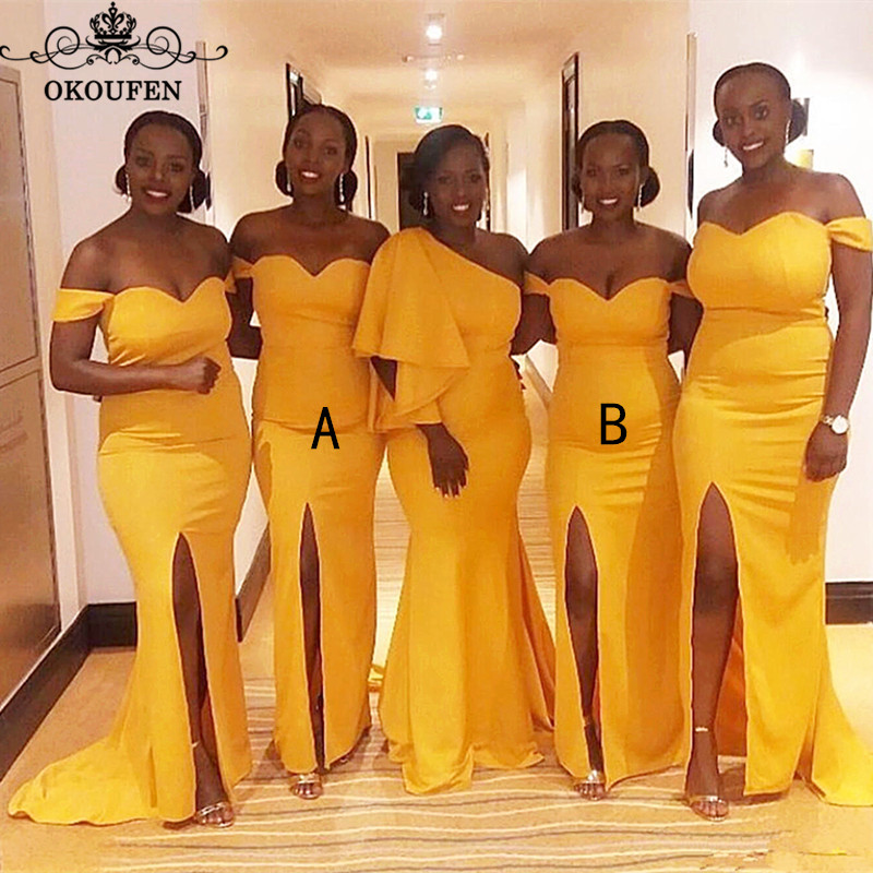 Sexy Side Split Mermaid   Bridesmaid     Dresses   2019 Gold Yellow Satin One Shoulder Long Corset Back Maid Of Honor   Dress   Party Gown