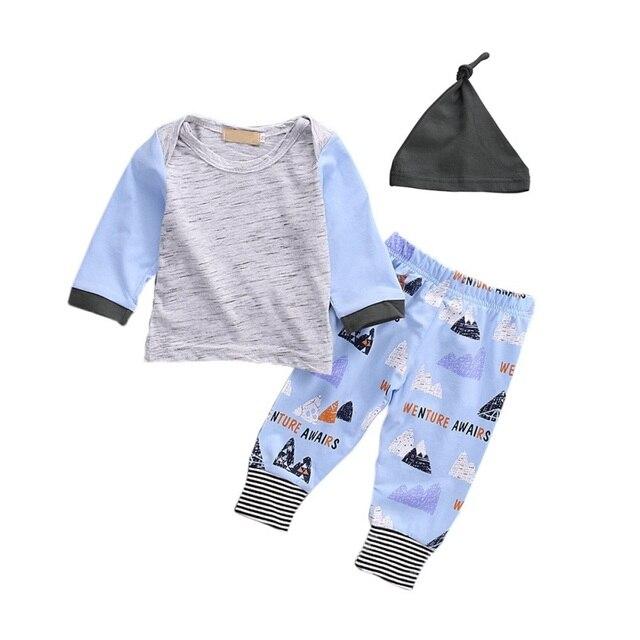 be6d6840d Bobora 3 UNIDS Niños Niñas Sudadera + Bottoms Pants + Hat Ropa Conjunto  Primavera Verano Recién