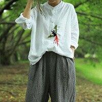 QPFJQD 2018 New Spring Summer Stand Collar Bird 3D Embroidery Cotton Linen Full Sleeve Loose Large
