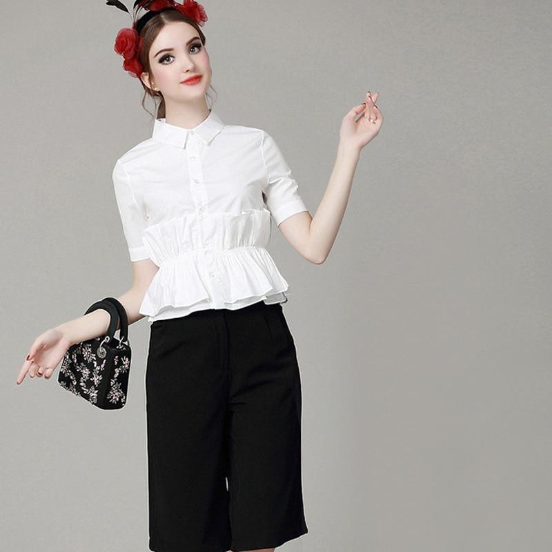 2016 Summer Hot Women 2 Piece Set Tops Fashion short sleeved shirt Loose wide leg pants