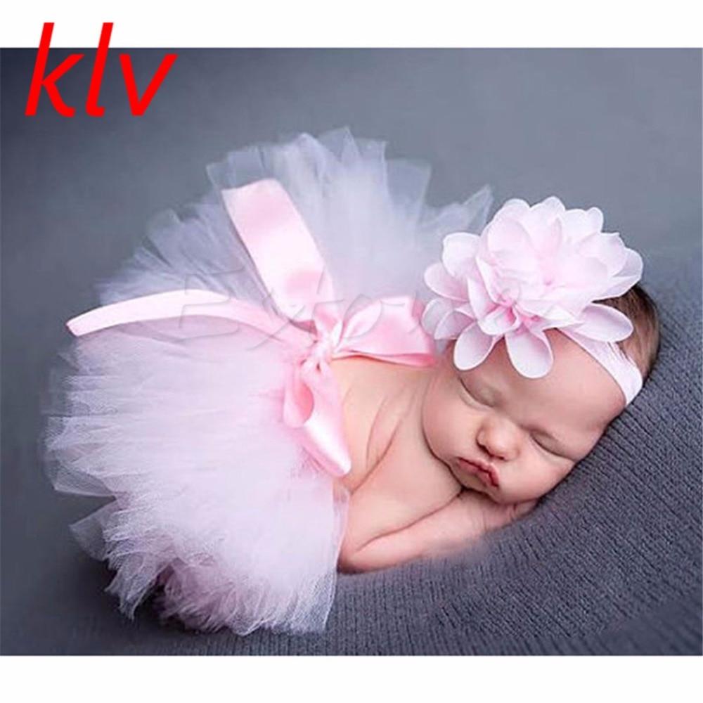 Cute Newborn Baby Girls Tutu Skirt & Headband Photo Prop Costume Toddler Kids Outfit Infant Baby Short Cake Skirt For 0-3M monochrome
