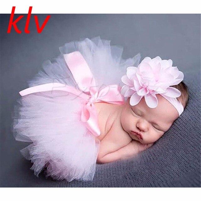 Linda falda tutú para niñas recién nacidas y Diadema foto Prop disfraz niño niños traje infantil bebé Falda corta para 0-3 M