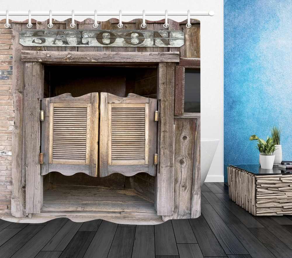 ... LB Rustic Old Wooden Barn Door Western Shower Curtain Set Swinging Saloon  Doors Bathroom Waterproof Fabric ...