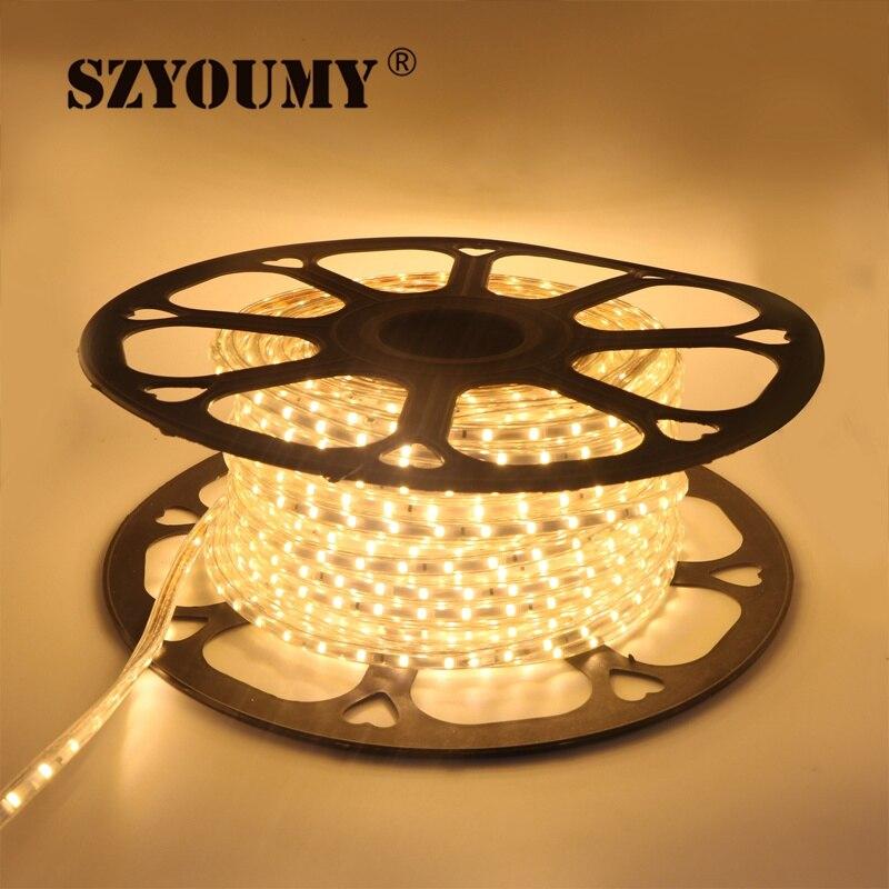 SZYOUMY 220V LED bande 2835 60 LED s/M IP65 étanche Flexible LED ruban ruban extérieur 300m 200 pièces plug - 3
