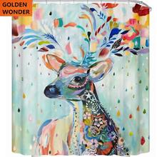 цена Creative Personality Colorful Deer Shower Curtain Waterproof Thickening Bathroom Cloth Bathroom Curtain Shower Bath Curtains