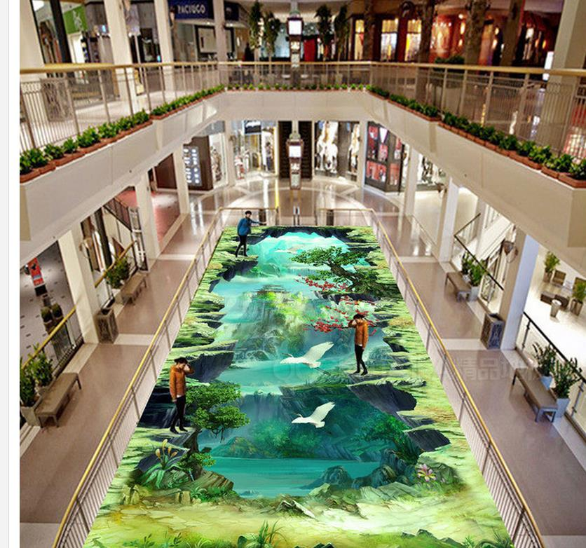 3d wallpaper pvc Game of the original painting style 3D outdoor painting affixed pvc floor wallpaper 30 millennia of painting