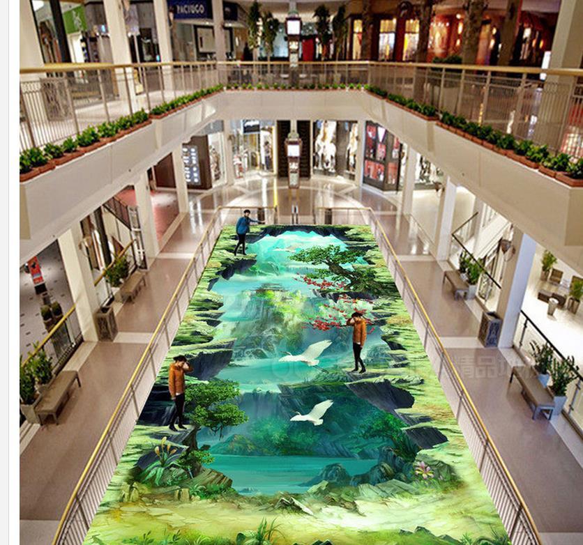 Papier peint 3d pvc jeu de la peinture originale style 3D peinture extérieure apposée papier peint de sol en pvc
