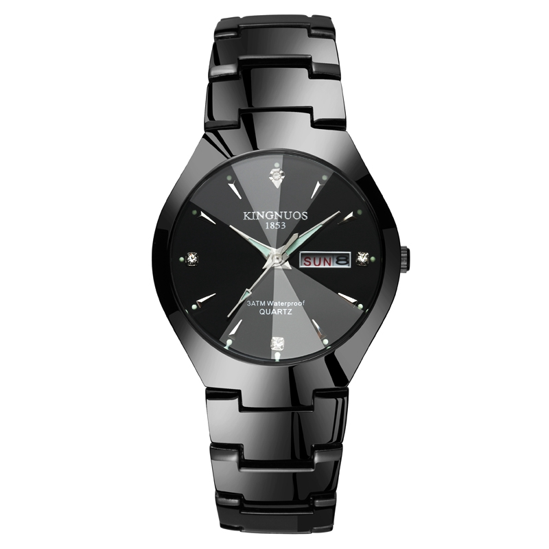 KINGNUOS Casual Fashion Lover Watch Pair Waterproof Tungsten Steel Men Women Couples Lovers Watches Set Wristwatches