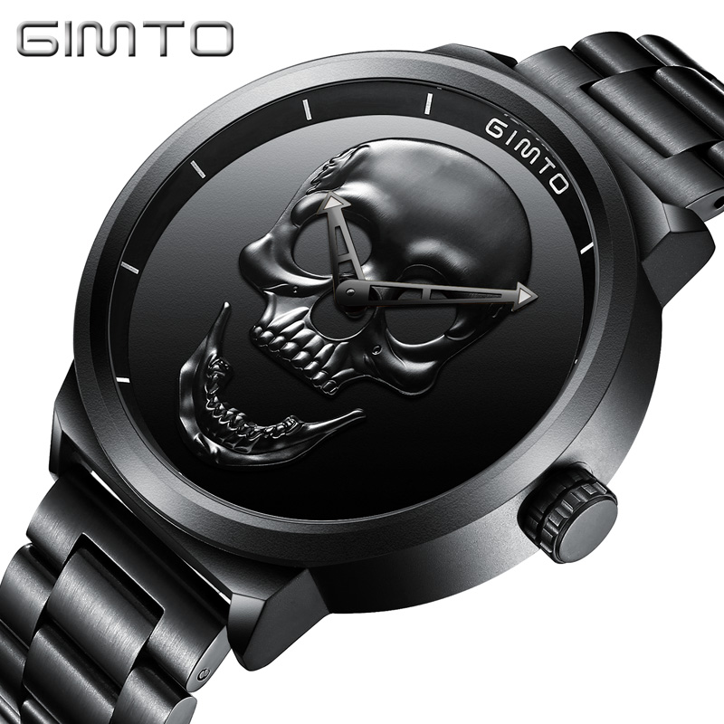 GIMTO Brand NEW Creative Skull Men Watch Luxury Black Steel Quartz Clock Male Boy Military Wrist Watches Sport Relogio Masculino new luxury men watch roman numbers stainless steel quartz wrist watch male clock mens watches relogio masculino 2018