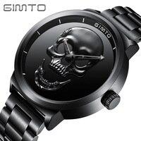 GIMTO Brand NEW Creative Skull Men Watch Luxury Black Steel Quartz Clock Male Boy Military Wrist