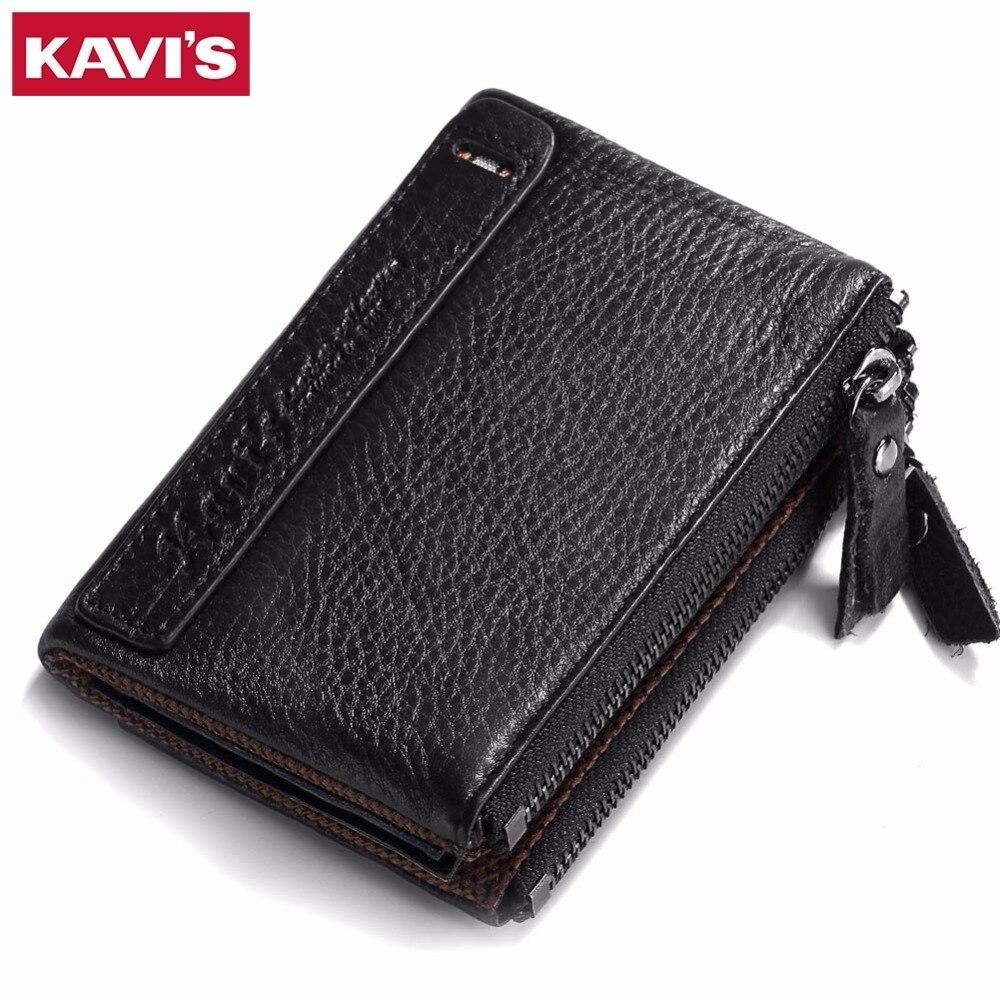 KAVIS Men Wallet 2017 Cowhide Genuine Leather Wallet For Men Vintage Small Thin With Zipper Coin Purse Pocket Walet Portomonee
