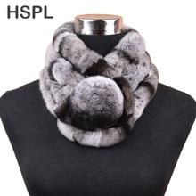 HSPL Fur Scarf Women Hot sale warm Soft Rabbit Scarves Winter Real Fur Scarf With Big Fur Ball Button cachecol bufandas mujer