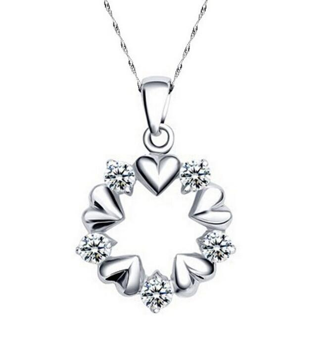 White Gold Cubic Zirconia Heart and Wreath Pendant Necklace Jewelry Mother's <font><b>Day</b></font> Gifts image