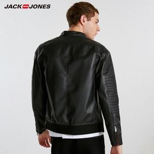 Image 3 - JackJones ผู้ชาย Hooded PU เสื้อหนัง Slim fit Casual Coat Outerwear Biker Hoodies บุรุษ 218321558