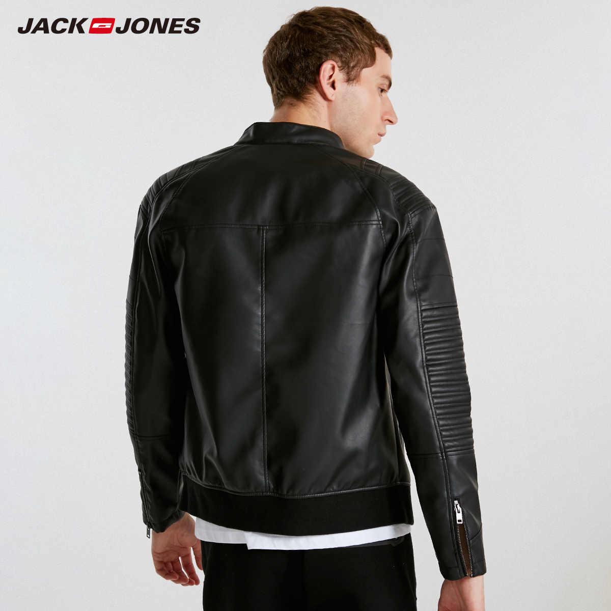 JackJones Мужская Весенняя повседневная куртка из искусственной кожи узкое повседневное пальто Мужская брендовая одежда модные пальто Мужская Верхняя одежда для байкеров C | 218321558