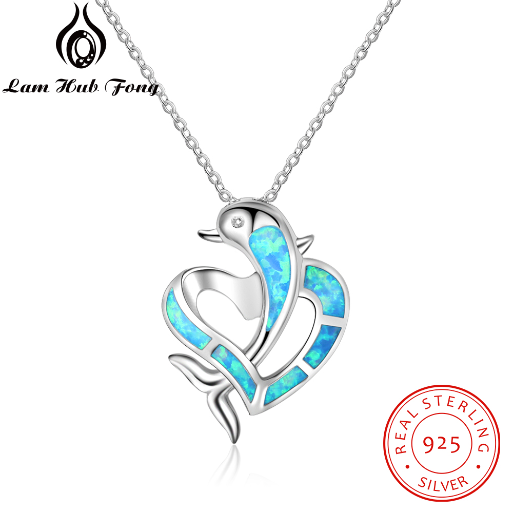 Fine Jewelry Blue Opal Trendy Pendants Sterling Silver 925 Jewelry Classic Woman Heart Pendants Romantic Anniversary Gift To Her