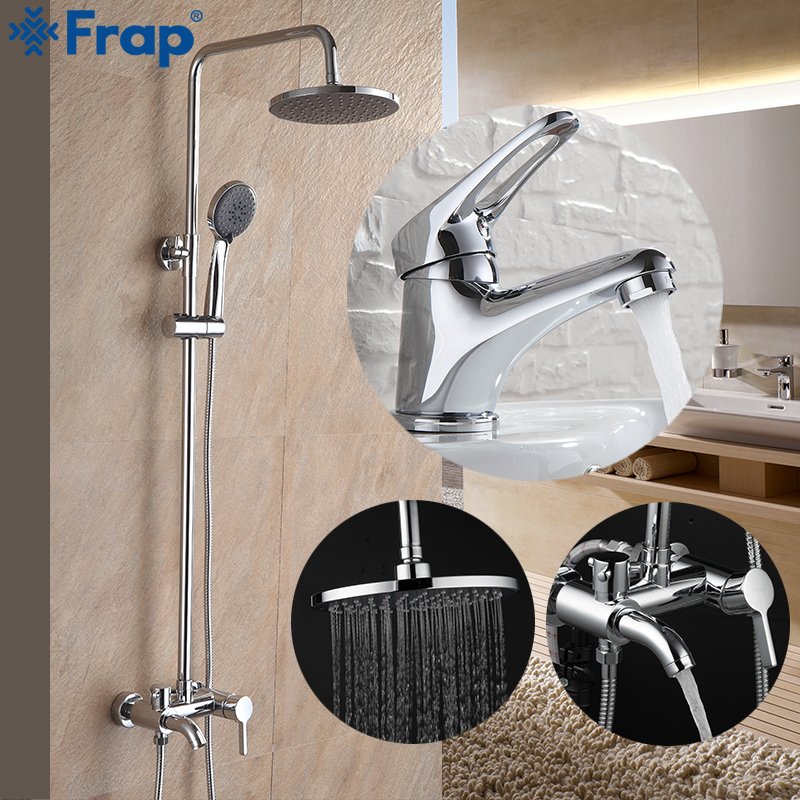 Frap New Arrival Bathroom Combination Basin Faucet and Shower Faucet Single Handle Cold and Hot Water Mixer F2416 F1013Frap New Arrival Bathroom Combination Basin Faucet and Shower Faucet Single Handle Cold and Hot Water Mixer F2416 F1013