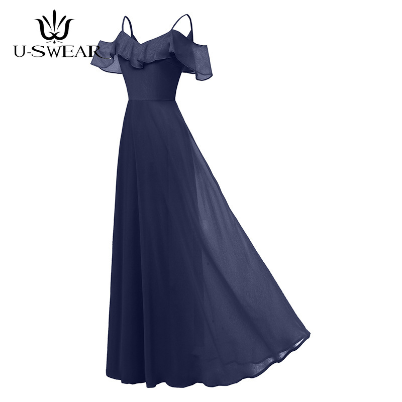 U-SWEAR 2019 New Arrival Women Fashion Sexy   Evening     Dresses   Boat Neck Sleeveless Party Prom Formal Gowns Long Vestidos Cerimonia