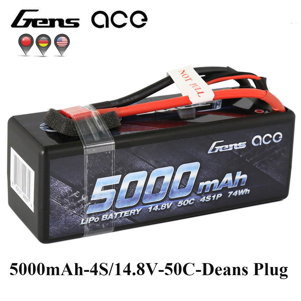Gens ace Lipo Battery 14.8V 5000mAh Lipo 4S 50C RC Battery Pack Deans Plug for 1/8 1/10 Car RC Boat Top Performance