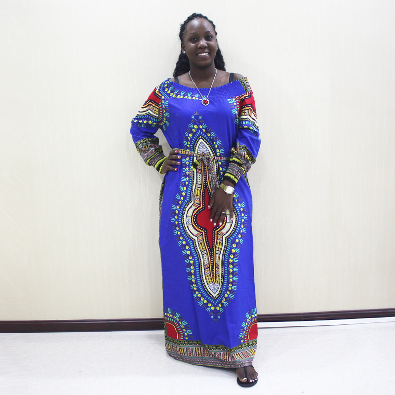 2019 Fashion African Dashiki Off Shoulder Long Sleeve Blue Cotton Print Long Dress