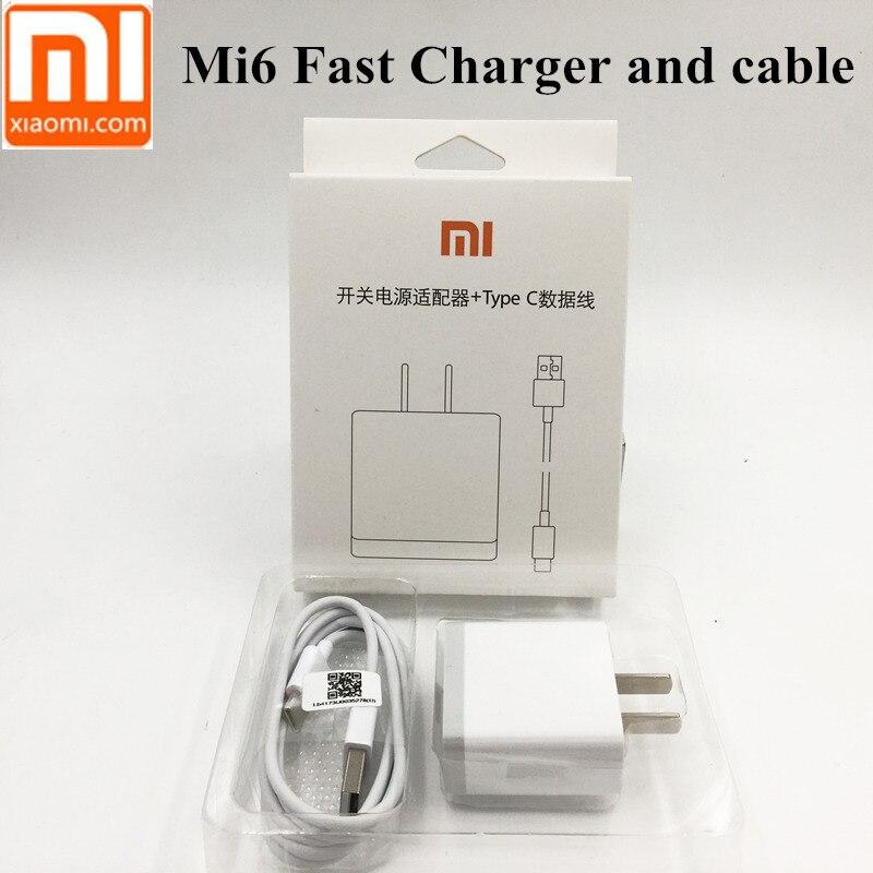 D'origine xiaomi mi6 Rapide Chargeur, QC 3.0 charge Rapide Usb Adaptateur & Usb C 3.1 Type-C Câble de données Pour mi 6 A1 de MÉLANGE 2 5 5S 4C