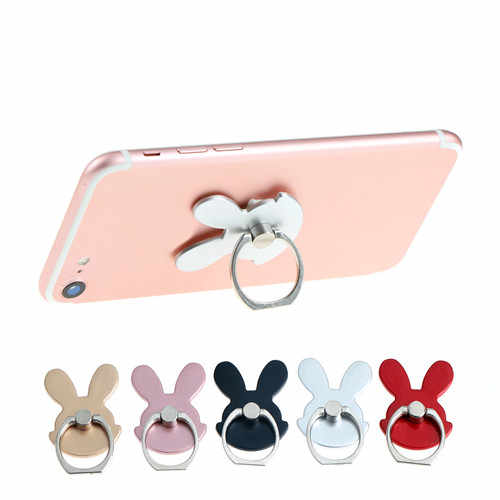 universal Rabbit Design Phone Holder 360 Degree Metal Finger Ring Mobile Phone Stand Holder For iPhone Samsung