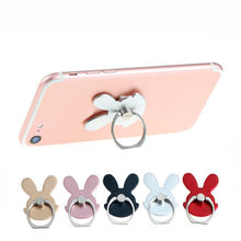 universal Rabbit Design Phone Holder 360 Degree Metal Finger Ring Mobile Phone Stand Holder For iPhone Samsung(China)