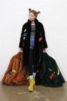 Vintage Furry Faux Fur Coat Women Patch Fluffy Warm Female Outerwear Autumn Winter Plush Overcoat Pocket Casual Teddy Outwear
