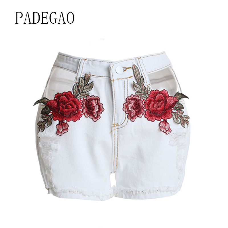 Ladies Summer Denim   Shorts   Casual Embroidery Floral Women   Short   Womens Jeans Femme High Waist Mujer Woman Fashion 2018 Blue