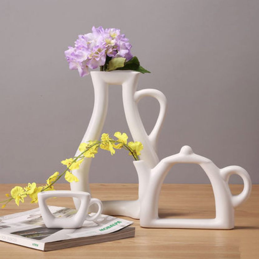 3 Shapes Vases Fashion Modern Style White Ceramic Tabletop