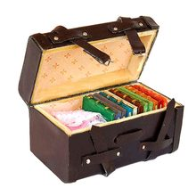 1/12 Miniature Dollhouse Carrying Vintage Leather Wood Suitcase Luggage Classic Toys Pretend Play Furniture Toys Accessory(China)