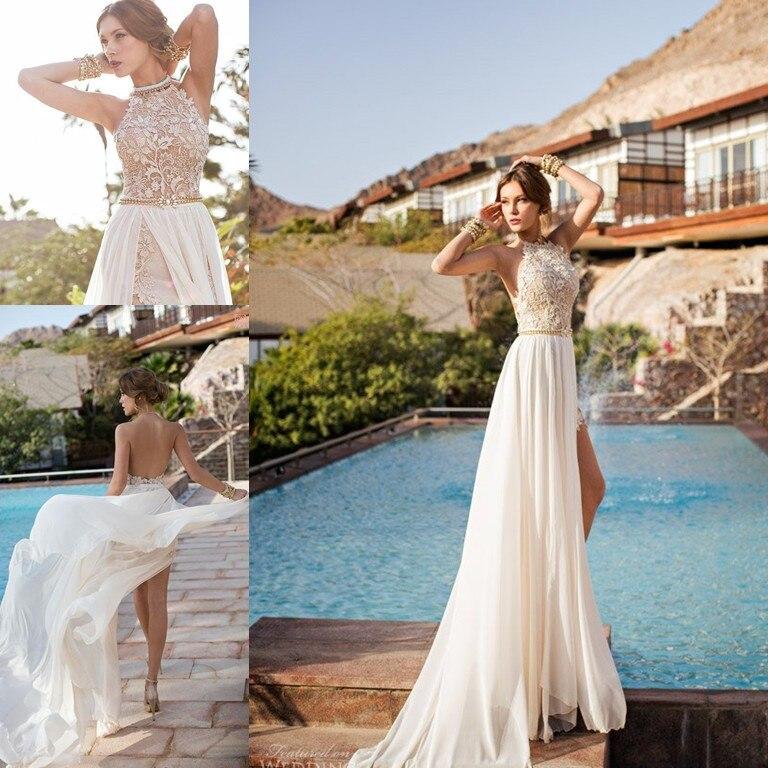 2014 julie vino lace appliqued beach wedding dresses for Flowing beach wedding dresses