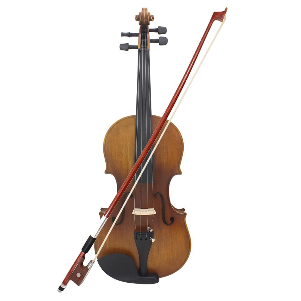 4/4 Full Size Violin Fiddle Matte Finish Spruce Face Board Ebony Fretboard 4 String Instrument with Hard Case Bow