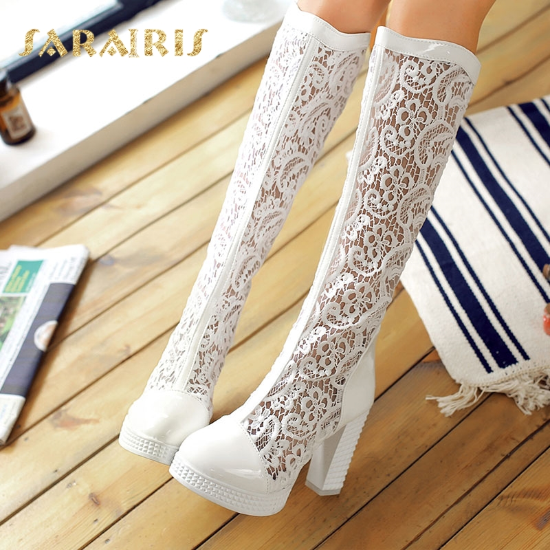 SaraIris Women's Flower Lace Upper Square High Heel Shoes Woman Breathable Platform Summer Knee Boots