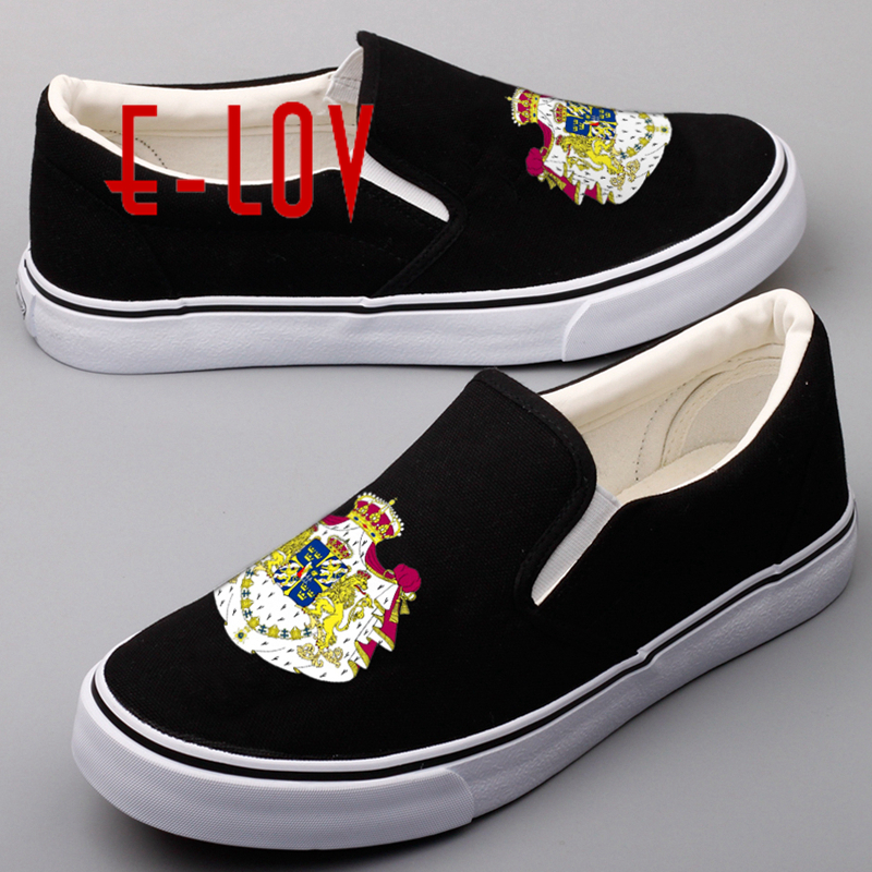 E-LOV Brand Printing National Flags Women Girls Shoes Street Style Sweden National Emblem Printed Swedish Casual Loafers Shoe e lov women casual walking shoes graffiti aries horoscope canvas shoe low top flat oxford shoes for couples lovers