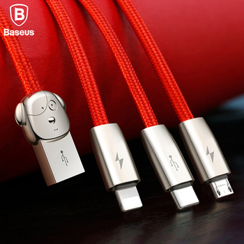 Baseus 3 in 1 3A USB Data Cable For iPhone X 8 Charger Cable For Samsung S9 USB TYPE C Cable For Xiaomi Redmi 4X Micro USB Cable