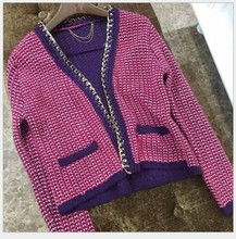 VogaIn 2016 Luxury Runway Brand NEW Elegant Women Purple Pink Short Sweater Cardigan With Chain Piping Side Small Pockets