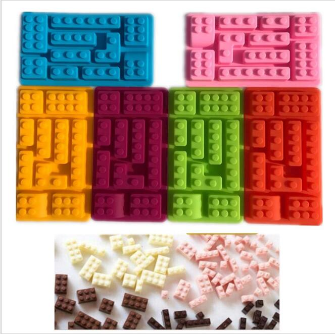1PCS 10Hole Lego Brick Blocks Shaped Rectangular DIY Chocolate Silicone Mold Ice Cube Tray Cake Tools Fondant Moulds image