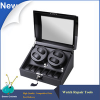 4 6 Series High Grossy Black White Carbon Fiber Leather Inside Watch Winder Box 5 Modes