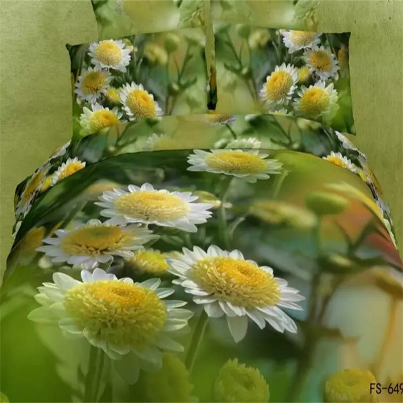 Green Plant 3D Reactive Printing Daisy Bedding Sets Queen Size Cotton Flat Bedsheets Duvet Cover Pillow Case Bed in a Bag SetsGreen Plant 3D Reactive Printing Daisy Bedding Sets Queen Size Cotton Flat Bedsheets Duvet Cover Pillow Case Bed in a Bag Sets
