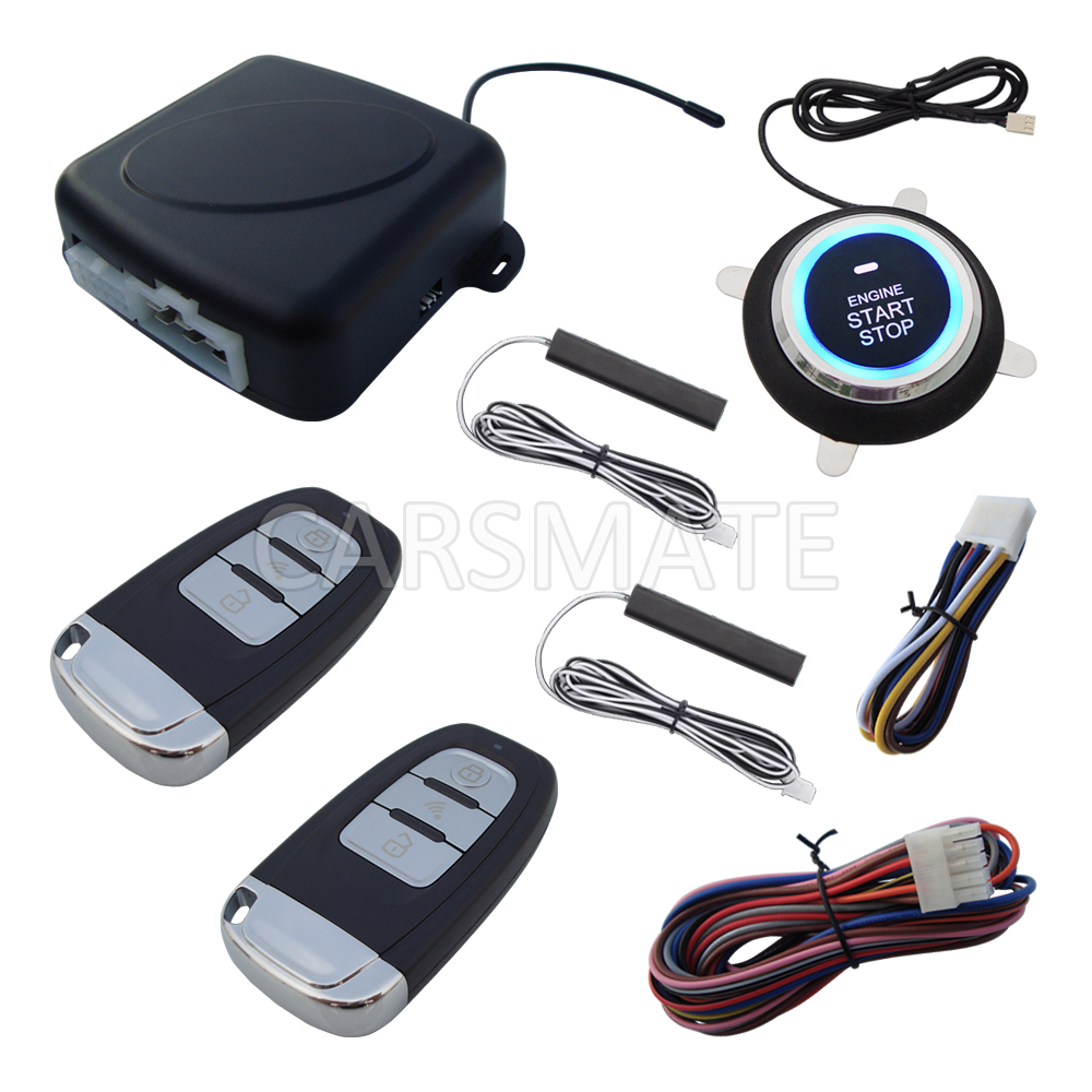 Universal Rolling Code PKE Car Alarm System Remote Start Stop Engine Push Button Start Passive Keyless Entry Remote Open Trunk universal pke car keyless entry alarm system with remote engine start push start stop button trunk release