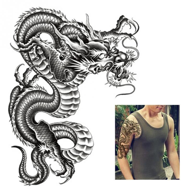 Hot Black Dragon Arm Tattoo Stickers Men Women Waterproof Temporary Tattoo Arm Legs Body Art Stickers Stickers Men Body Art Stickertattoo Sticker Aliexpress