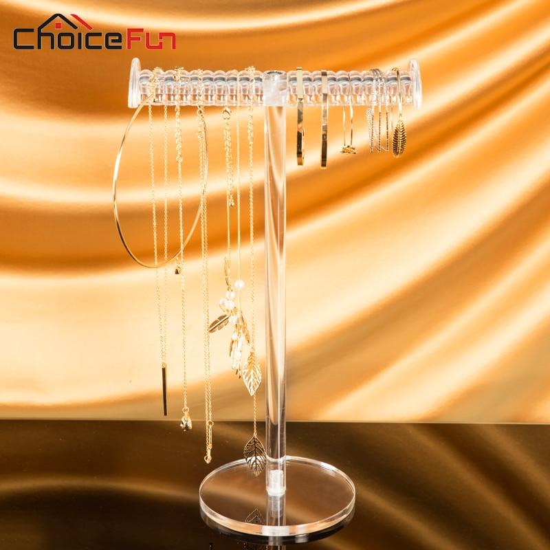 CHOICEFUN piekārtiem T-bar skaidriem akrila juvelierizstrādājumiem displeja organizators plastmasas galda rotaslietas kaklarotu turētājs aprocei
