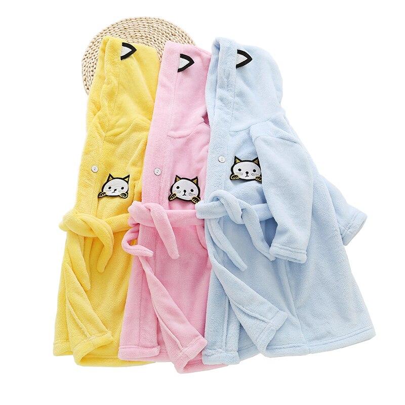 6557f72f6918 Girls Bath Robe Children Bathrobes for Boys Solid Baby Pyjamas ...