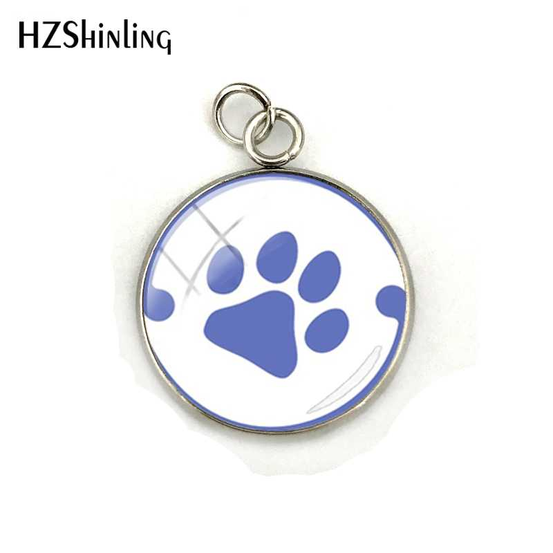 New Love Paw Prints Pendant Dog Lovers Glass Cabochon Stainless Steel Jewelry Charm Christmas Gift for Children for Friend