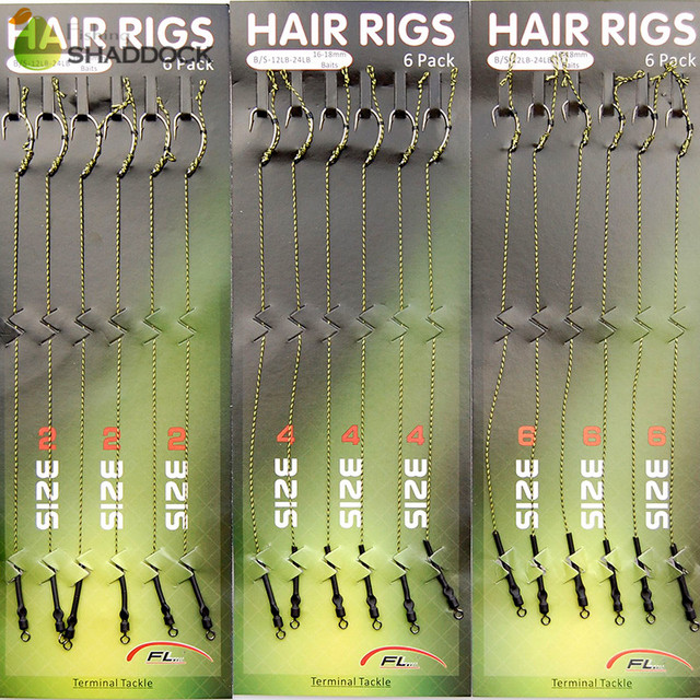 18pcs Carp Fishing Hair Rigs Braided Thread 8245 Curve Shank Hook Swivel Boilies Carp Rigs Carp Fishing Accessories Tackles