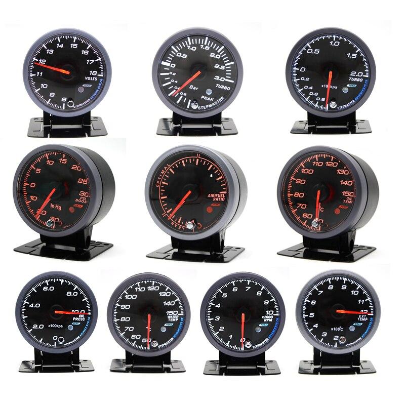 60MM Black Face Boost turbo/Water/Oil temp/Oil press/Voltmeter/Air fuel Ratio/ Exhaust gas temp/tachometer gauge Dual Led Color