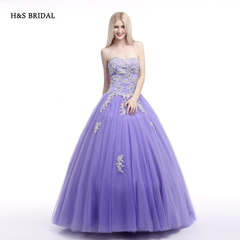H & bridal ballkleid lila weiß spitze appliques ballkleider sweet 16 ...